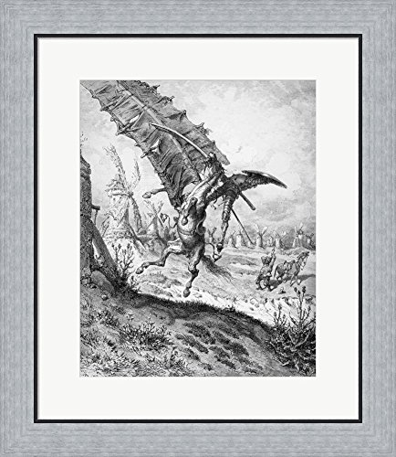 Don Quixote and the Windmills by Gustave Dore Framed Art Print Wall Picture, Flat Silver Frame, 21 x 24 inches