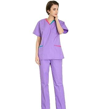 OPPP Ropa médica Uniforme de la Enfermera de Las Mujeres, Exfoliante, médico de Manga