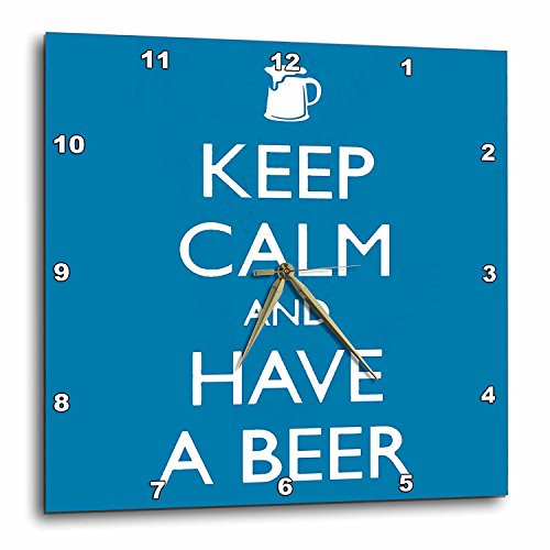 (3dRose DPP_193571_1 Keep Calm and Have a Beer Blue Wall Clock, 10 x)