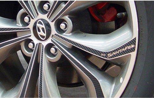 "autocar21 Carbon Tuning 19"" 4 Wheel Decal Sticker Set for 2013 2014 Hyundai Santa Fe : Sport"