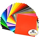 """iVinyl - 40 Adhesive Sheets 12"""" x 12"""" Premium Permanent Self Adhesive Backed Vinyl Sheets - 40 Glossy & Matt Assorted Colors Sheets for Cricut, Craft Cutters, Silhouette Cameo & Crafting Machines"""