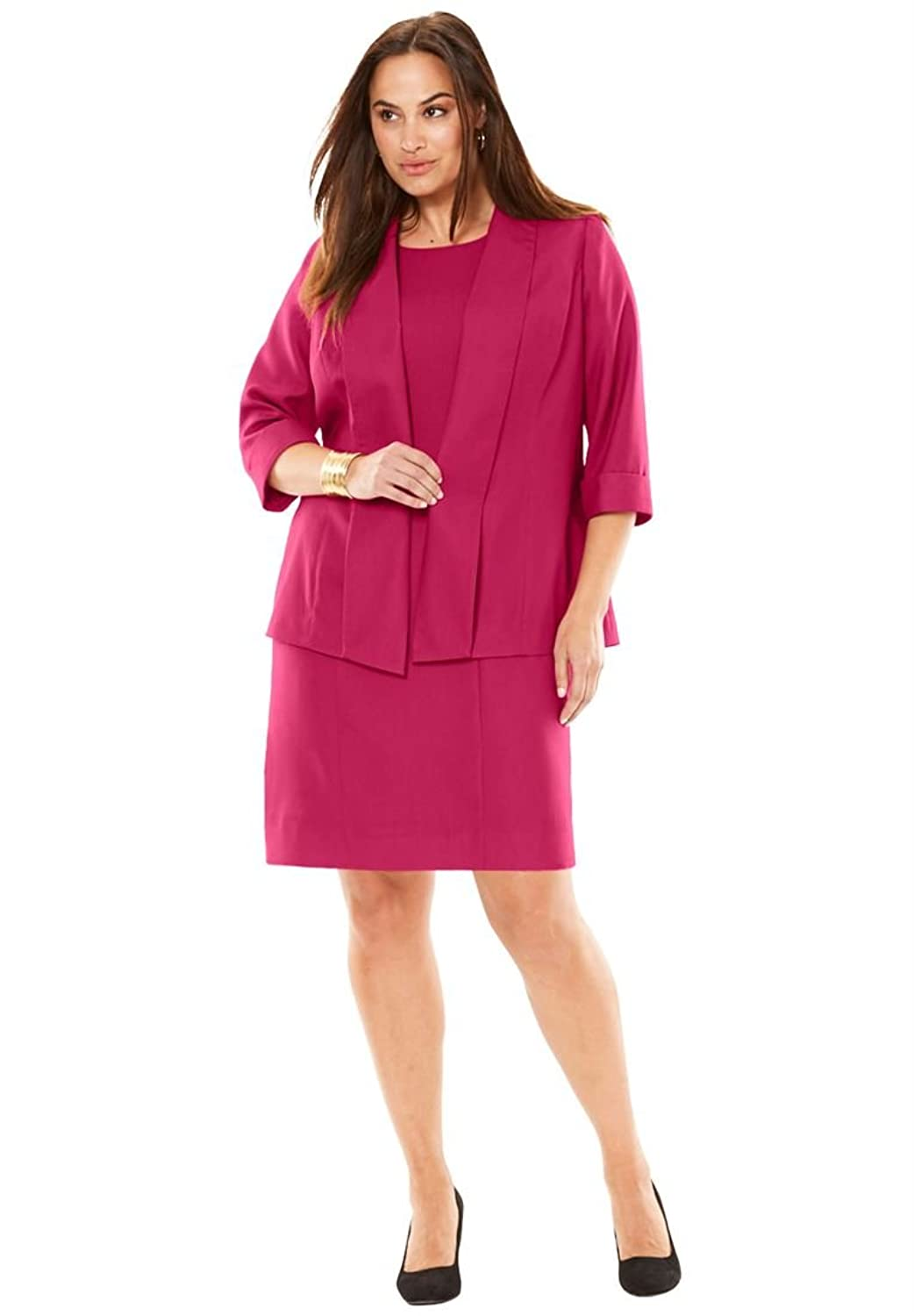 Jessica London Plus Size Shawl Collar Jacket Dress