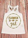 Flower girl racerback tank top, Flower Girl glitter shirt, Wedding shirt, bridal party racerback tank top, flower girl tank top,Flower shirt
