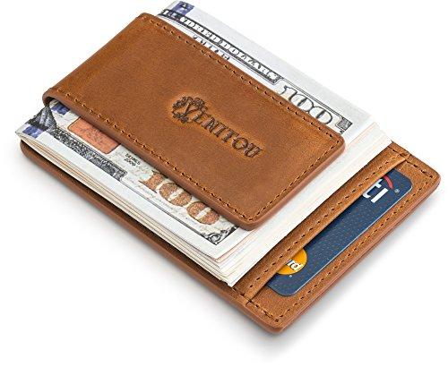 Genuine Leather Money Clip Wallet, RFID Blocking Wallet, Super Compact & Slim Wallet, Magnetic Cash Clip & Safe Card Holder by Venitou. (Light Brown)
