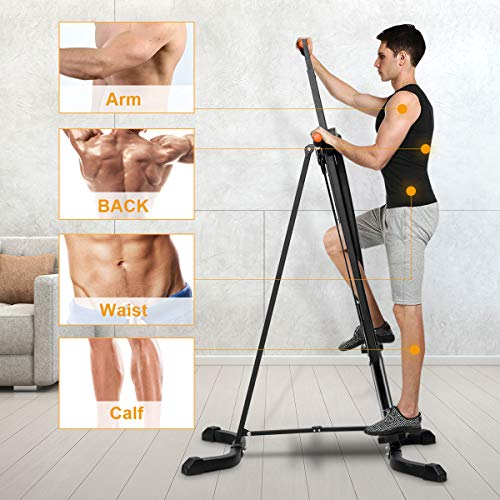 Goplus Vertical Climber Folding Stepper Climbing Exercise Machine w/Adjustable Height LCD Display Cardio Climbing System Home Gym (5 Adjustable Height) by Goplus (Image #3)