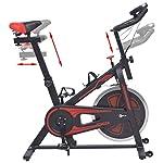 vidaXL-Cyclette-Sportiva-da-Spinning-Ellittica-con-Sensori-a-Impulso-Nera-Rossa