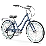 "sixthreezero EVRYjourney Women's 7-Speed Step-Through Hybrid Cruiser Bicycle, 26"" Wheels and 17.5"" Frame, Navy with Black Seat and Grips"