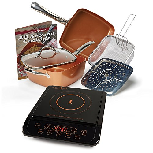 Copper Chef 9.5' Deep Square Pan 6 Piece Set with Induction Cooktop (Black Induction Cooktop)