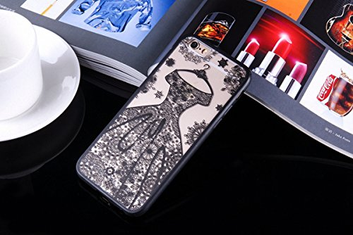 König-Shop Handy Hülle Mandala für Apple iPhone 6s Plus Design Case Schutzhülle Motiv Kleid Cover Silikon Tasche Bumper Schwarz