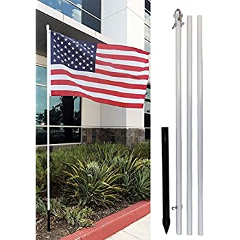 Amazon Com 10ft Aluminum Outdoor Flag Pole Kit Ground