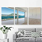 Canvas Prints Modern Art Framed Wall Mural Interior of Penthouse Empty Living Room Large Windows Sea Mountains View for Home Decor 3 Panels,Wall Decorations for Living Room Bedroom Dining Room Bathr
