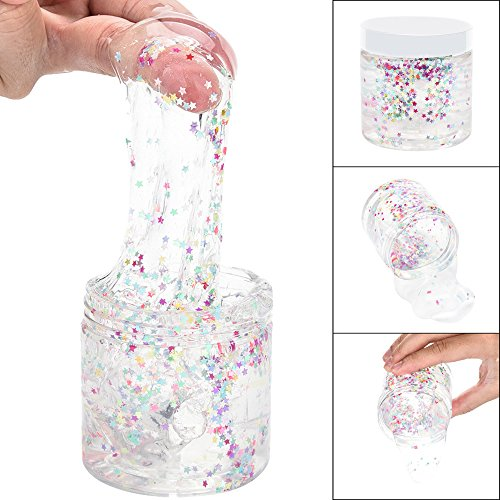 Wffo 170ml Colourful Pentagram Clear Slime Squishy Putty Scented Stress Kid Clay Toy (Clear)
