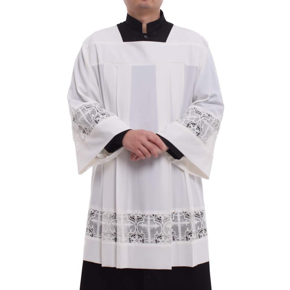 BLESSUME Catholic Pleated Lace Surplice Liturgical Cotta Vestment