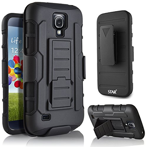 Galaxy S4 Mini Case, Samsung Galaxy S4 Mini GT-I9190/9192/9195 Case, Starshop Hybrid Full Protection High Impact Dual Layer Holster Case with Kickstand and Locking Belt Swivel Clip (S4 Mini Samsung Case compare prices)