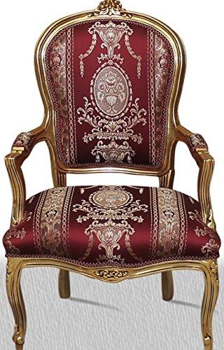 LouisXV Sillón Barroco Tela fauteuille beblümt Rojo Estilo ...