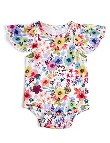 Leappearl 0-6 Months Infant Baby Jumpsuit Colorful Floral Printed Playsuit Sleeveless Romper Light Weight Cotton Fabric Onesies ()