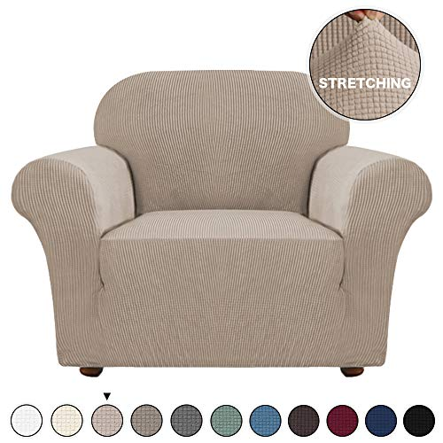 Turquoize Stretch Armchair Sofa Covers High Stretch Lycra Sofa Slipcover with Elastic Bottom Furniture Covers Jacquard Couch Covers for Living Room Form Fitted Slipcover Couch Covers (Chair, Khaki)