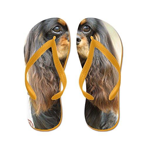 CafePress Cavalier King Charles Spaniel 9F51D-03 - Flip Flops, Funny Thong Sandals, Beach Sandals Orange