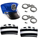 Funny Party Hats Cops and Robbers Party Supplies - Kids Police & Prisoner Hat - 5 Pc - Dress Up Accessories - Kids Halloween Costumes Blue