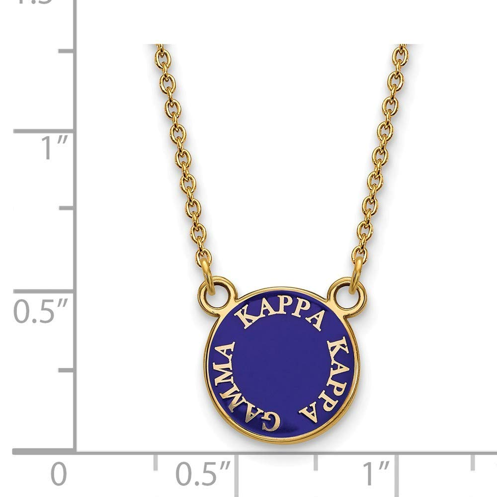 Roy Rose Jewelry Sterling Silver with 14K Yellow Gold-plated LogoArt Kappa Kappa Gamma X-small Enameled Pendant Necklace