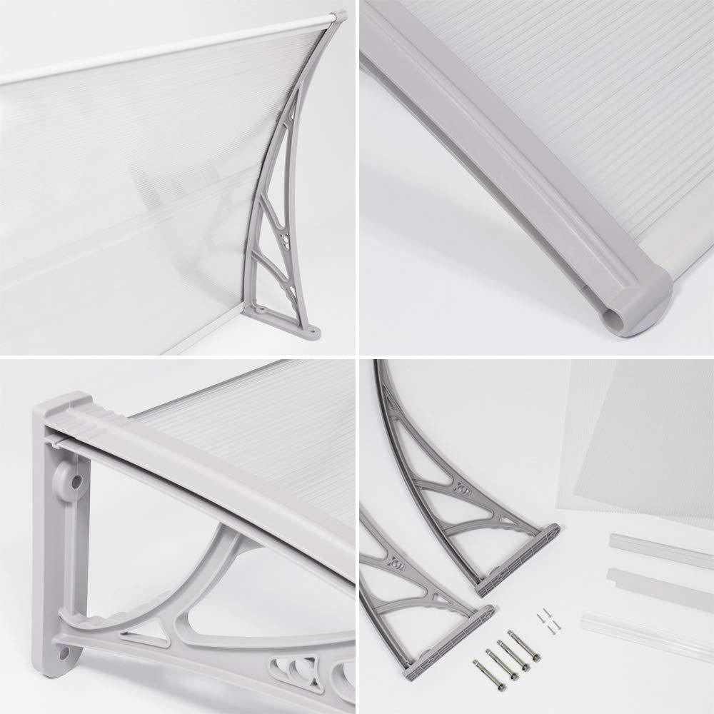 Vordach Haust/ür Terrassent/ür /Überdachung Haust/ürdach Pultvordach Alu Kunststoff 150 x 80 cm Transparent V2Aox