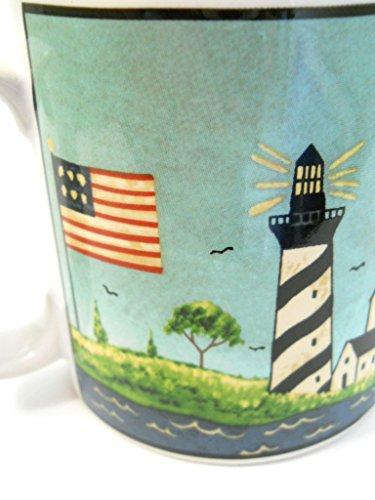 Sakura Coastal Breeze Coffee Mug Lighthouse USA Flag Sailing Ship Warren Kimble