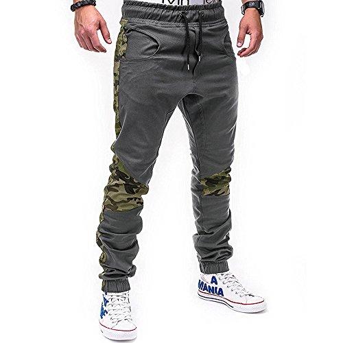 Farjing Men's Sweatpants Clearance,Men's Fashion Casual Loose Sweatpants Drawstring Pant Sport Camouflage Lashing Belts Pant(2XL,Gray) -