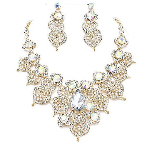 CLEAR GOLD CRYSTAL PAVE LEAF EVENING FORMAL WEDDING PARTY NECKLACE SET Brighton Bay (Party Shops Brighton)