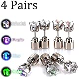 Kailian Glowing Diamond Stainless Steel LED Earrings For Party Club Disco Rave Bright Stylish Fashion(1-4 Pair)