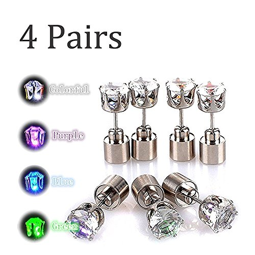 Glowing Diamond Stainless Steel LED Earrings For Party Club Disco Rave Bright Stylish Fashion(4 Pair) -Kailian-(Green+blue+purple+Colorful)