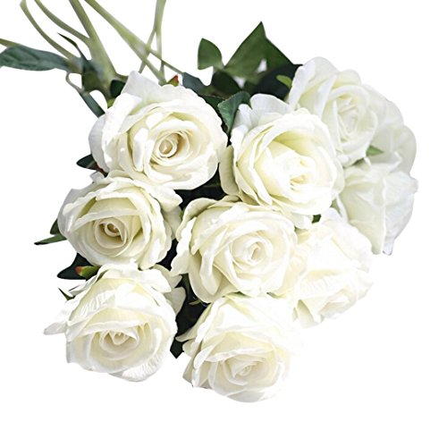 Flower, Gotd 5 Pcs Artificial Fake White Roses Flannel Flower Bridal Bouquet Wedding Party Home Decor (Multicolor 03)
