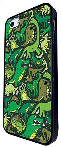 1316 - Cool Fun Trendy Cute Kawaii Dinosaur T-Rex Brachiosaurus Prehistoric Crocodile Scary Design iphone SE - 2016 Coque Fashion Trend Case Coque Protection Cover plastique et métal - Noir