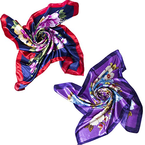 2 PCS Womens Large Satin Square Silk Feeling Hair Scarf 35 x 35 inches