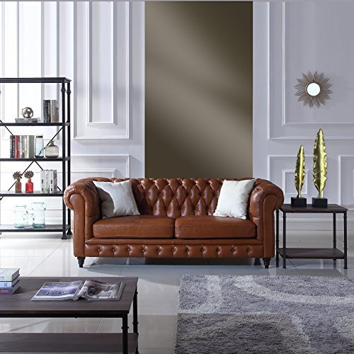 Classic Scroll Arm Real Italian Leather Chesterfield Sofa (Camel) (Couch Leather Chesterfield)