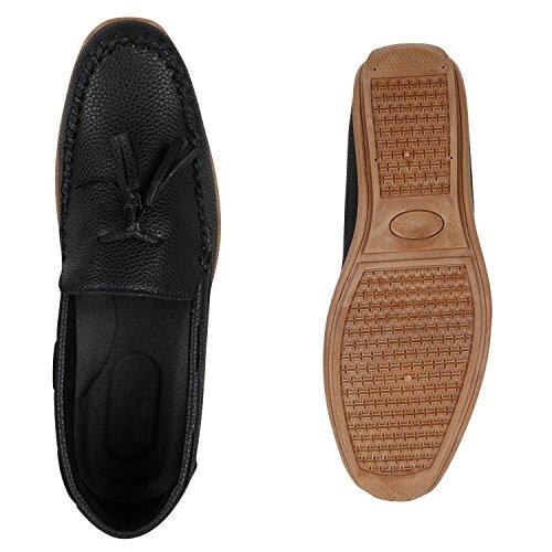 Stiefelparadies Herren Slipper Mokassins Freizeitschuhe Leder-Optik Flache Schuhe Kroko Flandell Schwarz Beige