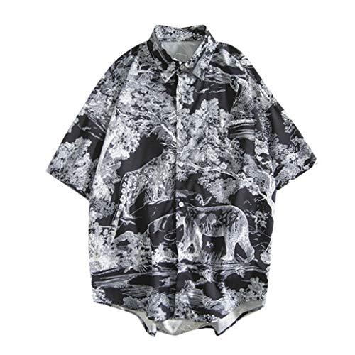 iHPH7 Shirts Hawaiian Regular Fit Beach Summer Fashion Casual Printing Short-Sleeve Top Blouse Men (XL,4- Black)]()