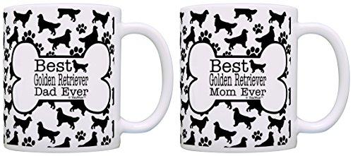 Best Golden Retriever Mom Dad Ever Bundle Paws Dogs 2 Pack Gift Coffee Mugs Tea Cups Bone Pattern - Golden Retriever Paws