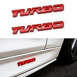 hyundai car emblem - TK-KLZ 2Pcs 3D Metal TURBO Premium Car Side Fender Rear Trunk Emblem Badge Decals for JEEP BMW Dodge Mercedes Benz Chrysler Toyota Honda Nissan Kia Hyundai Chevrolet Ford (Red)