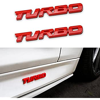 TK-KLZ 2Pcs 3D Metal TURBO Premium Car Side Fender Rear Trunk Emblem Badge Decals for JEEP BMW Dodge Mercedes Benz Chrysler Toyota Honda Nissan Kia Hyundai ...