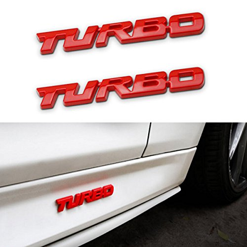 TK-KLZ 2Pcs 3D Metal TURBO Premium Car Side Fender Rear Trunk Emblem Badge Decals for JEEP BMW Dodge Mercedes Benz Chrysler Toyota Honda Nissan Kia Hyundai Chevrolet Ford (Red)