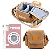 Light Brown Medium Sized Canvas Carry Bag With Multiple Pockets & Customizable Interior - Compatible with the Lomo'Instant Automat - by DURAGADGET