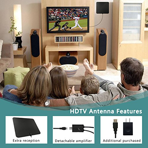 50 Miles Amplified HDTV Antenna Indoor 2018 Amplifier TV Antenna Digital TV Signals with Detachable Channels Booster Easy Installation Antenna for 1080P 4K High Reception Free Gain 98Ft Coax Cable TV Antennas