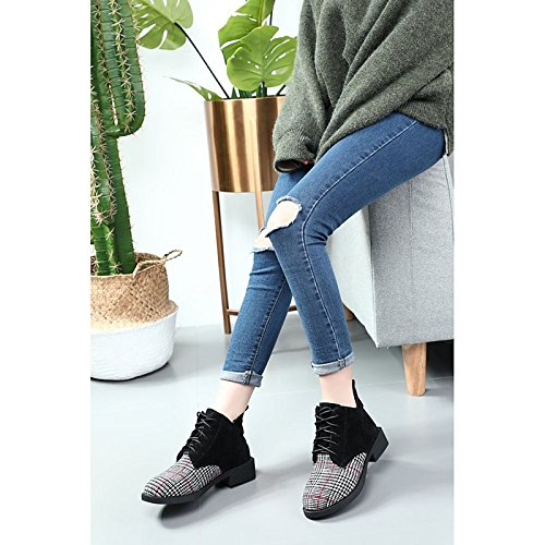Black US5.5   EU36   UK3.5   CN35 Black US5.5   EU36   UK3.5   CN35 HSXZ Women's shoes Nubuck leather PU Winter Fall Comfort Fashion Boots Boots Null Block Heel Round Toe Booties Ankle Boots   for Casual Brown