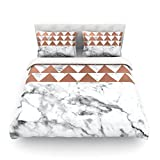 KESS InHouse KESS Original ''Marble & Metal'' White Copper Twin Cotton Duvet Cover, 68 by 88-Inch