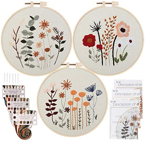Uphome 3 Pack Embroidery Starter Kit for Beginners Stamped Cross Stitch Kits with Cute Flowers and Plants Patterns, DIY Needlepoint Kits with Embroidery Hoops and Color Threads for Adults Kids
