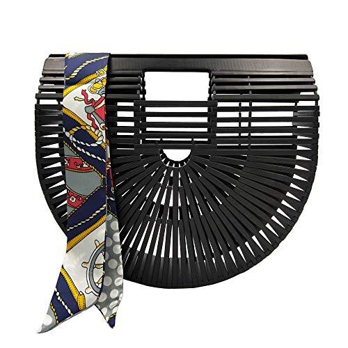 Bamboo Bag for Women Handmade Tote Bag Summer Beach Straw Bamboo Handbag with Scarf (Small, Black)