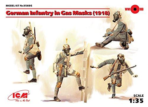 (PLASTIC MODEL KIT GERMAN INFANTRY IN GAS MASKS (1918) (4 FIGURES) 1/35 ICM 35695)