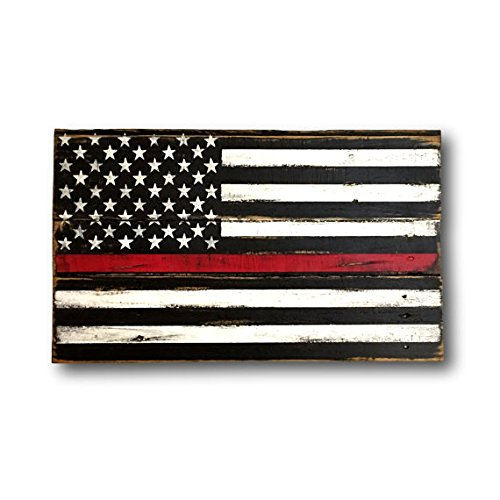 "Thin Red Line Wood Flag - Firefighter Gift - Wood Firefighter Flag - Fireman Gift - Fire Academy Gift - Firefighter Decor - Firefighter Art 24"" x 14"""