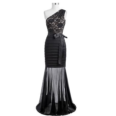 DRESS Women Long Evening One Shoulder Black Mermaid Evening Gowns Silhouette Lace Appliques Party Prom Dresses