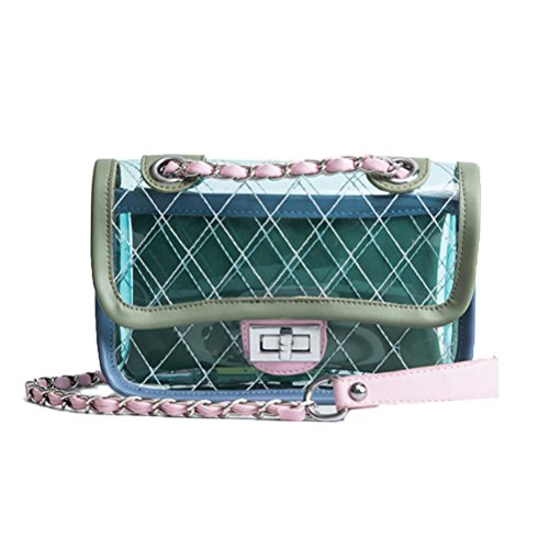 (Donalworld Girl Clear Bag Small Flap Quilted Chain Strap Crossbody Bag Blue)